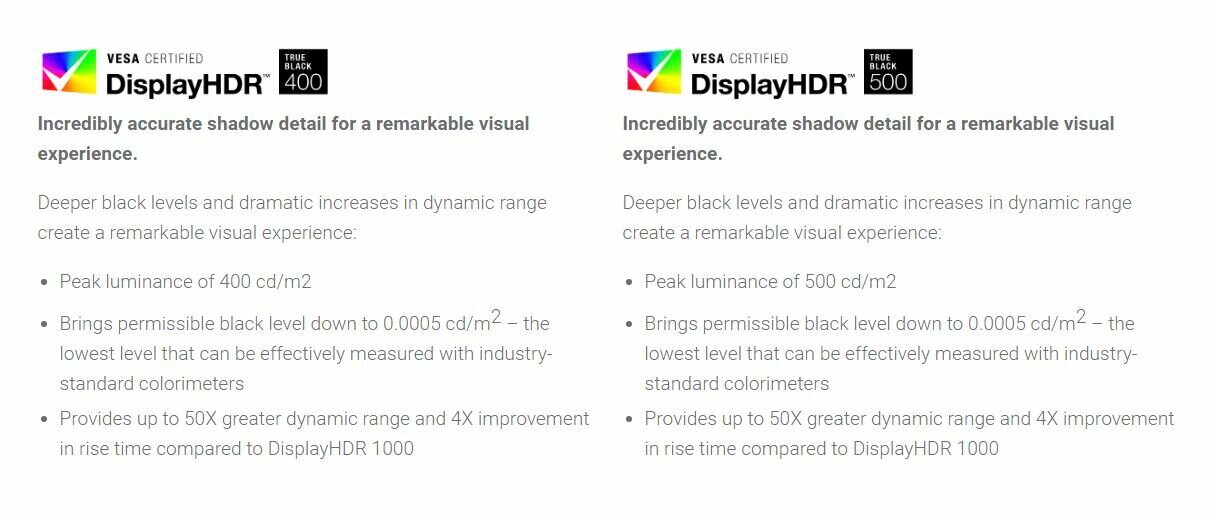 VESA DisplayHDR True Black