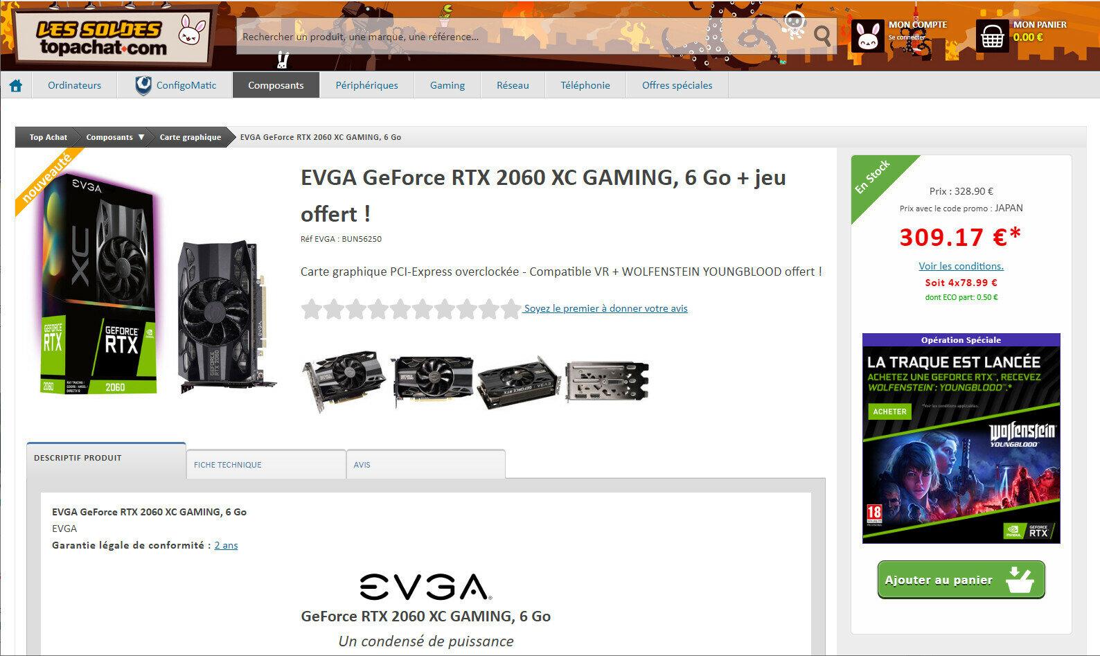 GeForce RTX 2060 Soldes 2019