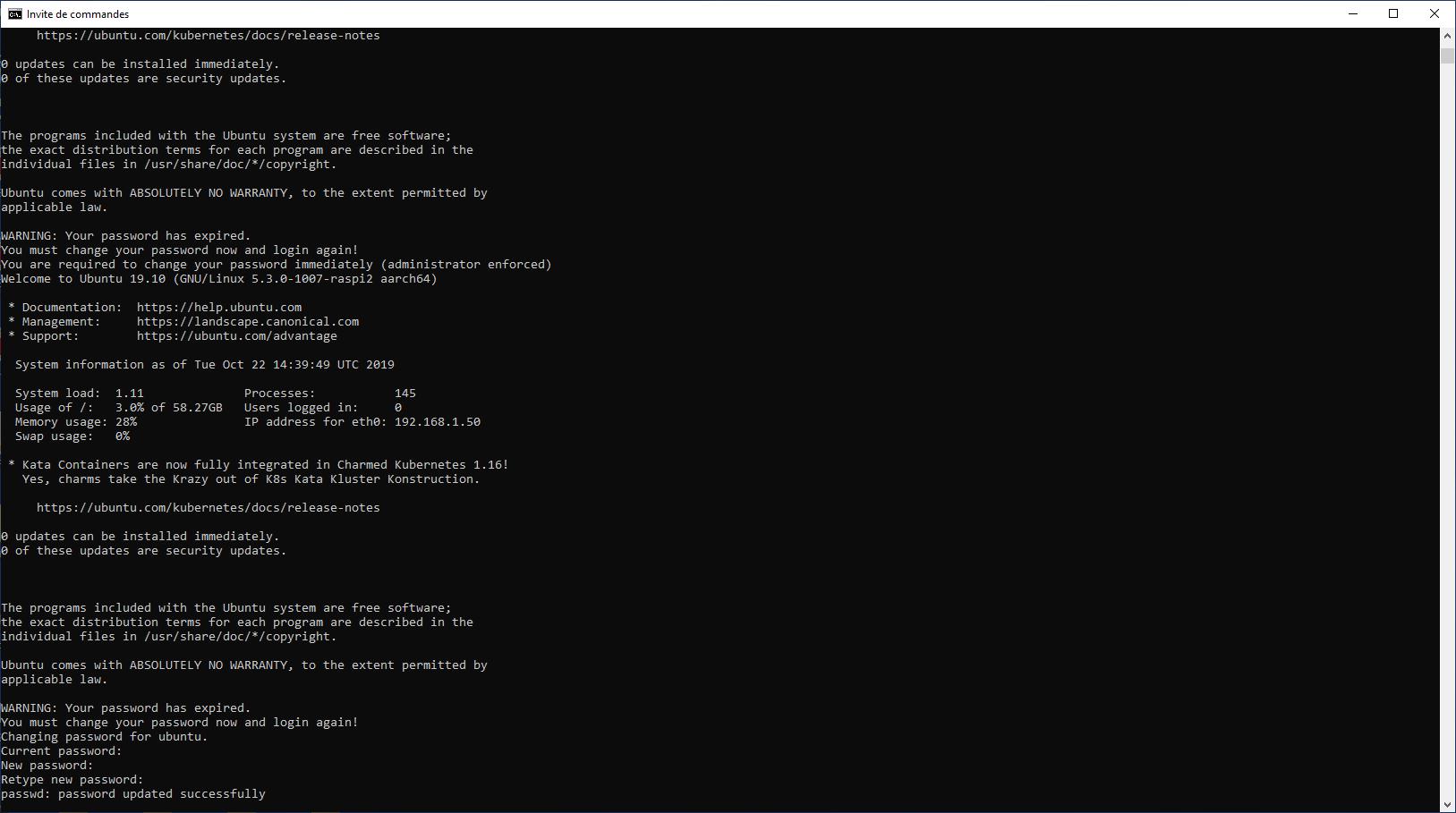 Raspberry Pi 4 Ubuntu 19.10 SSH