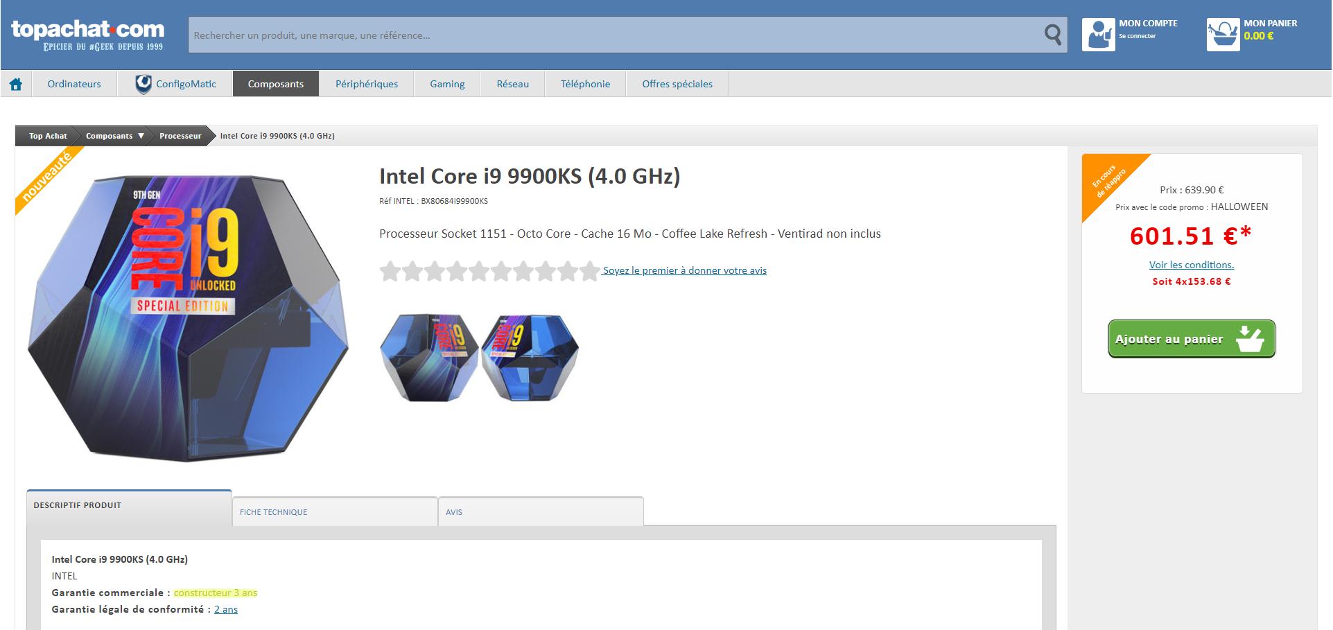 Intel Core i9-9900KS Tarif Garantie