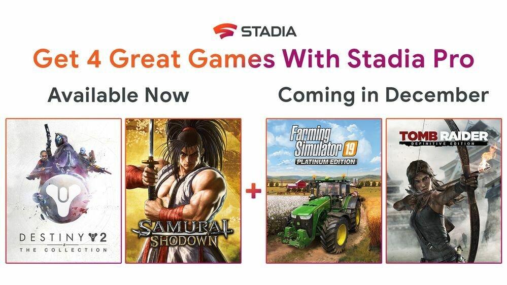 Stadia Jeux offerts Décembre 2019