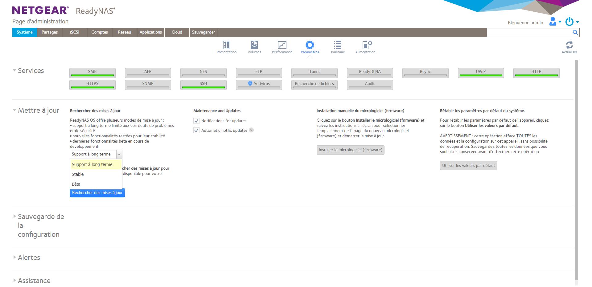 ReadyNAS OS 6.10 Paramètres