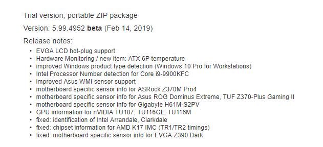 Intel Core i9-9900KFC AIDA64