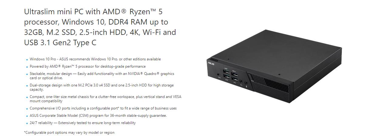 Asus PB50 AMD Ryzen R 3550H Mobile