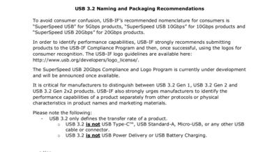USB 3.2 Recommandations
