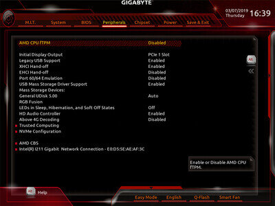 Gigabyte B450I Aorus Pro Wifi UEFI