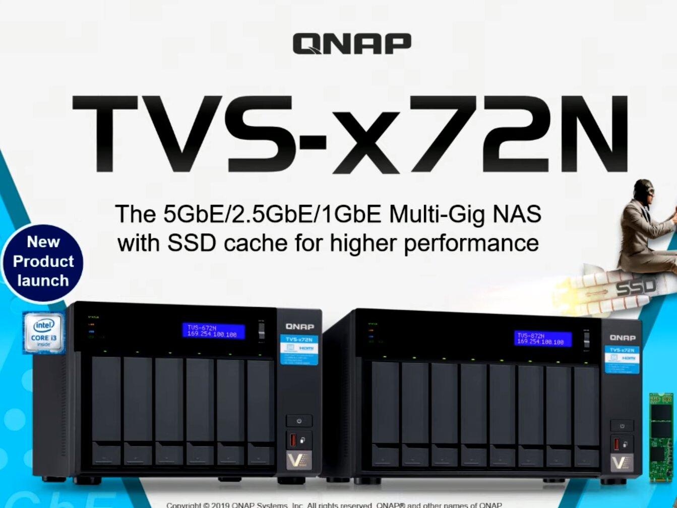 QNAP dévoile ses NAS TVS-x72N avec Ethernet 5 Gb/s, Core i3 et USB 3.1 Gen 2
