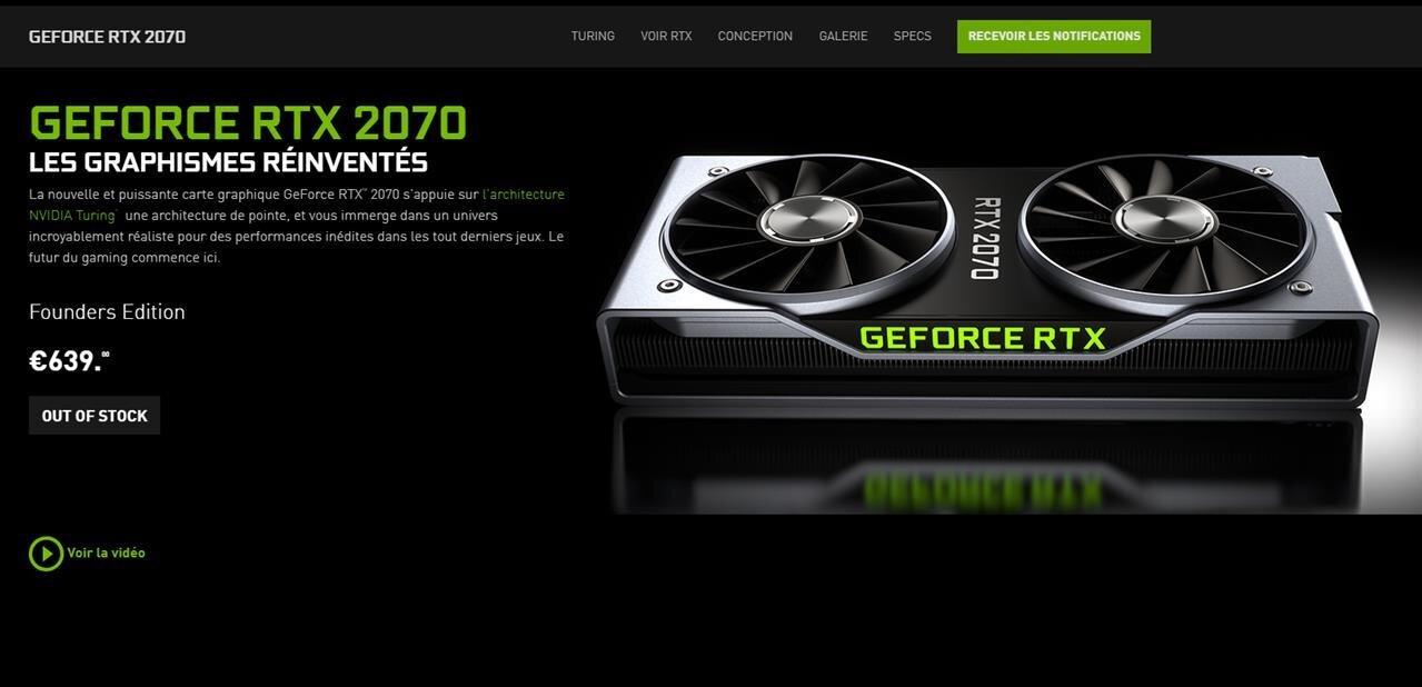 Les GeForce RTX 2070annoncées pour le 17octobre, la Founders Edition à 639euros