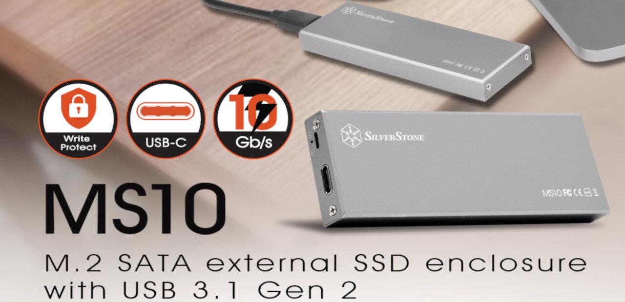 SilverStone MS10 : un boîtier USB Type-C pour SSD M.2 avec protection en écriture