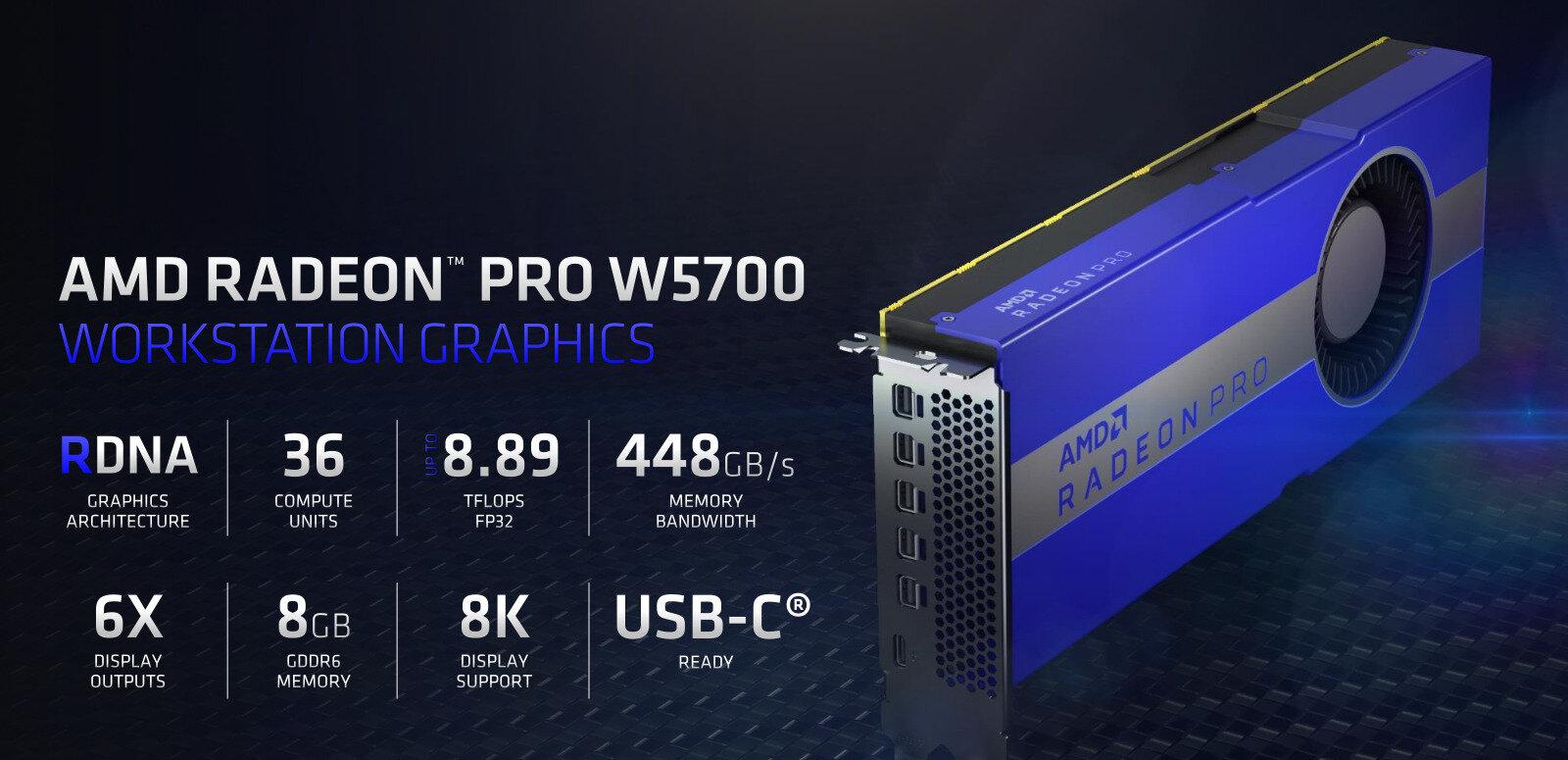 AMD annonce sa Radeon Pro W5700 (Navi, 7 nm) avec port USB Type-C à... 799 dollars
