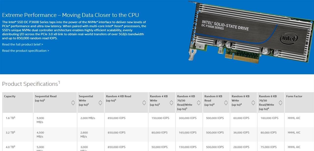 SSD Intel DC P3608 : NVM Express, PCIe 3.0 x8 et jusqu'à 5 Go/s