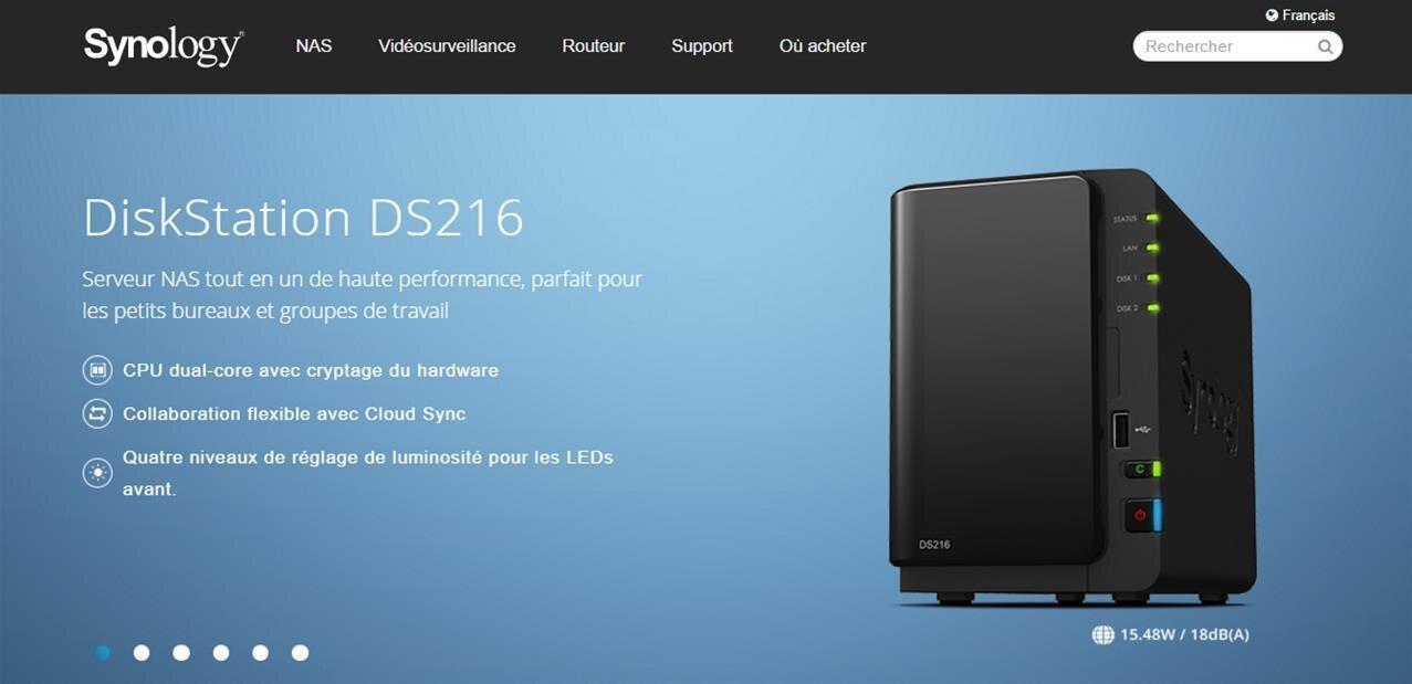NAS Synology DS216 : deux baies et chiffrement des données pour 288,95 euros