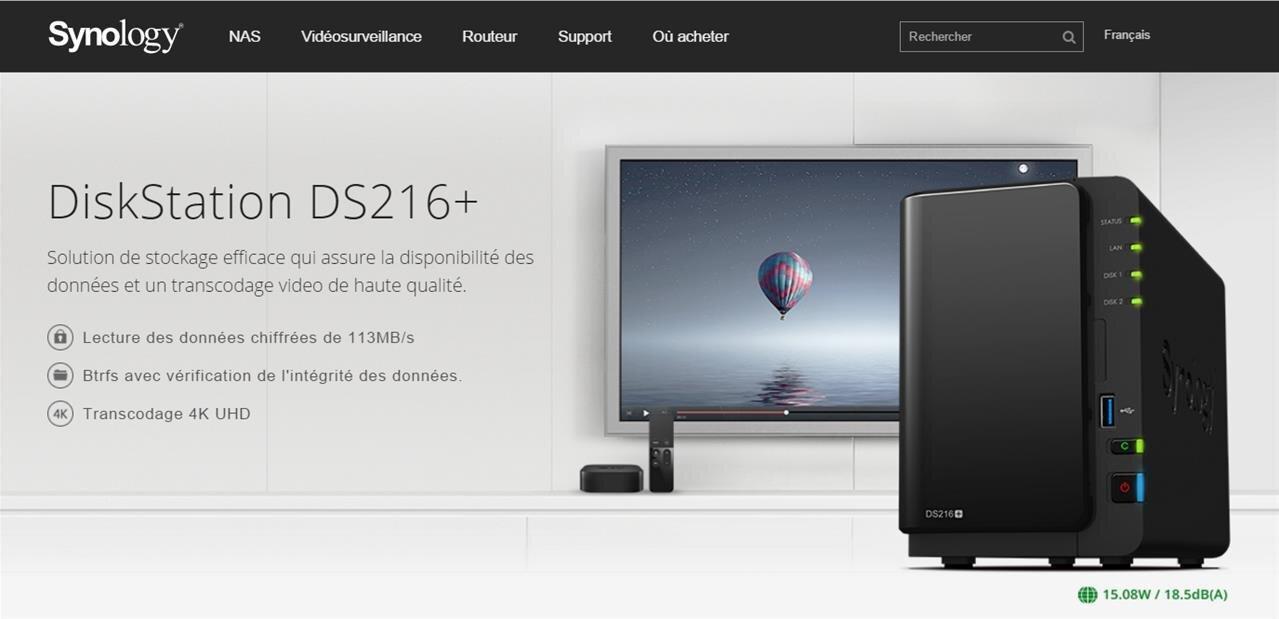 NAS Synology DS216+ : 113 Mo/s avec des données chiffrées et transcodage vidéo 4K, pour 330 €