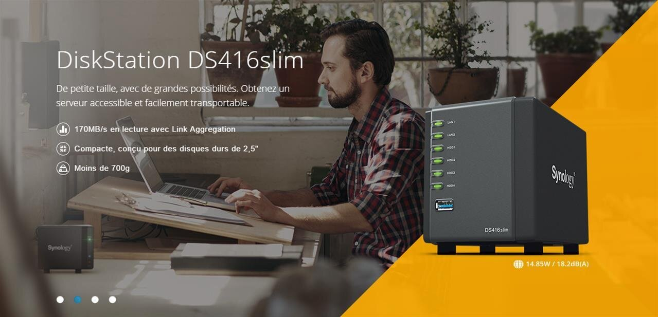 Synology DS416slim : un NAS avec quatre baies de 2,5 pouces, à plus de 300 euros